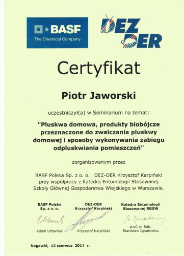 Certyfikat pluskwy PJ